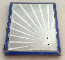 Beautiful Solid English Silver Cigarette Case With An Enamel Front 1935 89.1g