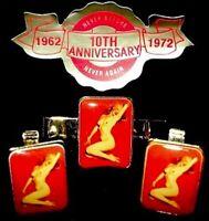 Marilyn Monroe 1962 Vintage Pinup Calendar Cufflinks Set Golden Dreams MT COA