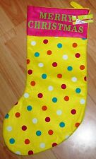 """BNWT New Yellow Spotted Christmas Stocking – """"Merry Christmas"""""""