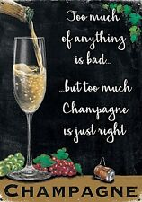 Champagne..too much is just right. small steel sign 200mm x 150mm (og)