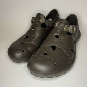Sketchers Men's Water Rubber Shoes Clogs Hook And Loop Brown Size 12