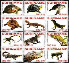 ✔️ SURINAME 2007 - FAUNA REPTILES CROCODILES TURTLES - MI. 2108/2119 ** MNH OG