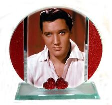 Elvis Presley, My Way, Cut Glass Round Plaque, Red Hearts, Limited Edition  #1