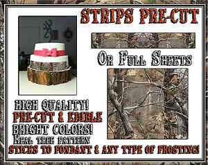 Real Tree 300 - Edible Cake Strips Camouflage Sugar wraps toppers sheet wedding
