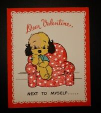 Vintage 1945 Unused Barker Puppy Dog Valentine Greeting Card