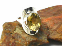 Lemon  QUARTZ  Sterling  Silver  Gemstone  RING  925  -  Size: N