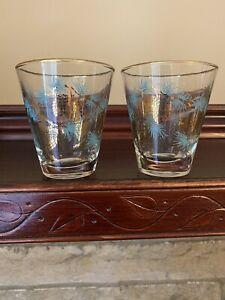 "2 VTG Libbey Gold Pine Cones Aqua Needles Drinking Juice Glasses 3 1/2"" Tall MCM"