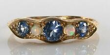 9CT GOLD ART DECO INS CEYLON SAPPHIRE & AUSTRALIAN OPAL HALF ETERNITY RING