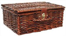 Traditional Brown Wicker Christmas Gift Hamper Basket with Lid - SMALL 12""