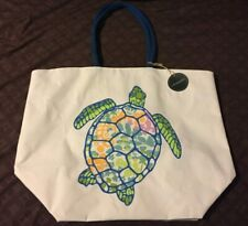 Cynthia Rowley - Extra Large Canvas Reusable Tote Bag - Turtle Design