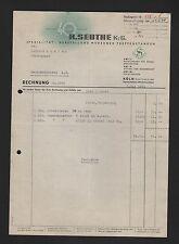 KÖLN, Rechnung 1941, R. Seuthe KG Treppen-Stangen