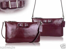 Coach Bag F52225 DARCY PATENT BOW EAST/WEST SWINGPACK Maroon COD