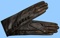 NEW size 7.5 UNLINED LONG BLACK LAMBSKIN LEATHER GLOVES with BUTTONS