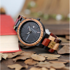 BOBO BIRD Colourful Mens Deluxe Wooden Watch With Date In Bamboo Gift Box