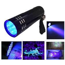 Mini schwarz Aluminium Handscheinwerfer 9-LED UV Ultra Taschenlampe Lila Licht