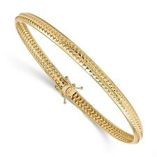 14k Solid Yellow Gold Polished Textured Flexible Bangle