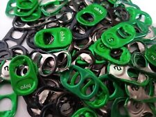100  GREEN/BLACK ASSORTED ALUMINUM CAN TABS PULL TABS POP TABS
