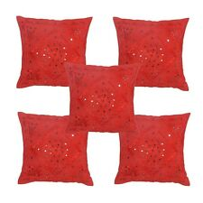 """16"""" Red Mirror Embroidered Cushion Pillow Cover Sofa Throw Lot Of 5 Pcs"""