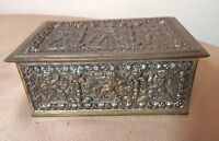 antique ornate figural gilt bronzed cherub cigarette vanity humidor jewelry box