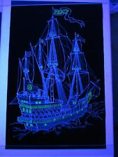 Vintage Psychedelic Blacklight Poster PEACE SHIP 1972 Hippie Pirate Ship COOL