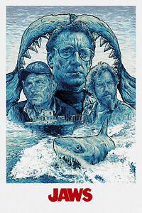 Jaws Digital Art Movie Poster Print T1093 |A4 A3 A2 A1 A0|