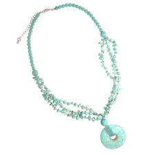 NEW OLD STOCK FACETED IMMITATION TURQUOISE COSTUME NECKLACE AND EARRING SET