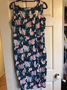 Collectif Pinup Wiggle Dress L UK 14 Blue Floral
