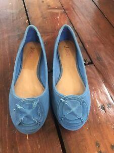 Blue Suede Ballet Pumps Jones Size 7