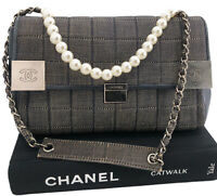 Chanel Authentic '02 CC Distressed Denim Chocolate Bar Quilted Flap Bag W/ Box