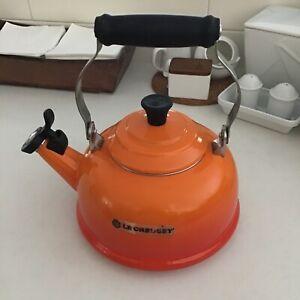 Le Crueset  Enamel On Steel Whistling Tea Kettle, 1.7 qt., Flame Orange