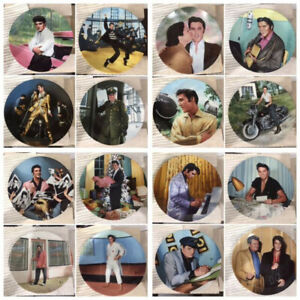 """Bradford Exchange Elvis Collection Plates: """"Looking at a Legend"""" Set of 16"""