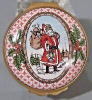 Halcyon Days Enamel Box Santa Claus & Reindeer Round Trinket Box Christmas 1984