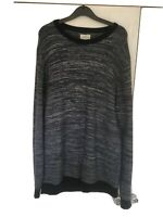 Next Men's Long Sleeve Navy Blue Grey Jumper Pullover Size Large L Smart Casual