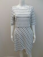 NEW PORTMANS WHITE/ NAVY BLUE STRIPE, EXPOSED ZIP DRESS SIZE L=12/14   (#U431)