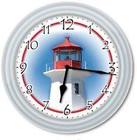 Lighthouse Wall Clock - Nautical Coastal Beach House Ocean Decor - GREAT GIFT