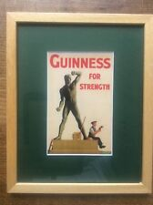 Wooden Wood Framed GUINNESS for Strength Advertising Advert for Man Cave Bar Pub