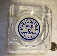 Rare Gas & Oil Advertising Ashtray GULF FOGLE'S SERVICE Bath NY