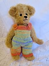 ++TEDDY CLOTHES++ new hand knitted dungarees to suit an 11 inch bear