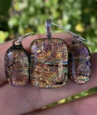 Multi Color Fused Dichroic Art Glass Jewelry Matching Pendant Earrings set  (s)
