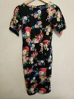 ASOS Women's Black Floral Print Long Pencil Dress Short Sleeve Size 6 Cotton