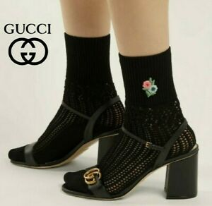 GUCCI Floral Embroidered Pointelle Knit Ankle Socks Black Size M $245 *Authentic