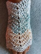 HANDMADE CROCHET LADIES FINGERLESS GLOVES COTTON BLEND MULTI COLOURED