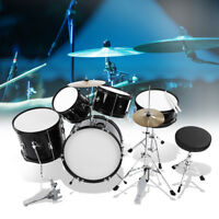 5 Piece Complete Junior Drum Set Cymbals Child Kids Kit Gift with Stool Sticks