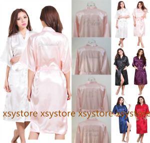 Satin Silk Long Personalized Wedding Robe Bridesmaid Bride Mother Dressing Gowns