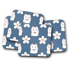4 Set - Pretty Lucky Cat Coaster - Blue Lotus Flower Cute Chinese Fun Gift #8729