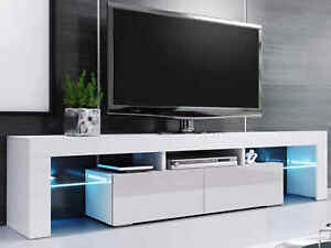 """200cm High Gloss TV Stand Display Cabinet TV Unit for TVs Upto 75"""" w/ Led Lights"""