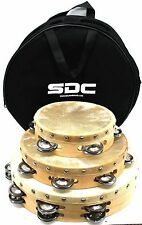 "Wood Tambourine 10"" 8"" 6"" Wooden Church Party Tambourines Free Bag"