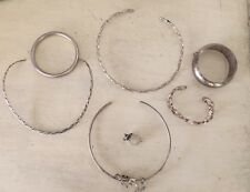 Sterling Silver Mixed Lot Of 7 925 Mexico Choker Necklaces Bracelets Frogs 146g