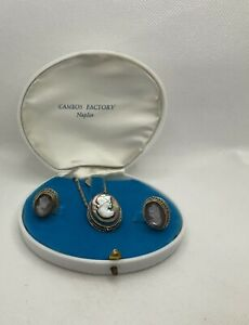 Cameos Factory Naples  Necklace And Earrings Silver 800 Vintage  J1