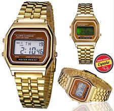 Reloj de pulsera Hombres Mujeres niño Vintage clásico metal digital alarma oro.